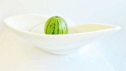 On The Cusp, with watermelon, Colorado Yule Marble by Martin Cooney