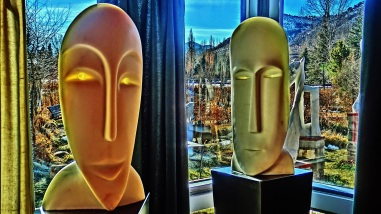 Girl in the Moon, Salt of the Earth, Cosmic Twins, Colorado Yule Marble Masks by Martin Cooney