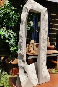 Oblique Perspective, Woody Creek, Colorado Yule Marble Sculpture by Martin Cooney
