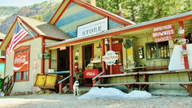 Friendly Dog greets visitors at The General Store, Redstone, Colorado, Along the Aspen Marble Detour
