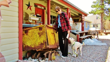 Kris Cooney and a Friendly Dog at The General Store, Redstone, Colorado, Along the Aspen Marble Detour