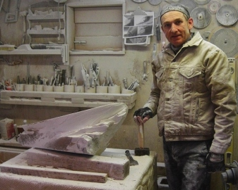 Martin Cooney, Stone Carver, Mother of Pearl rough block, Yule marble 2, Birdhaven Studio Workshop, Woody Creek, Colorado