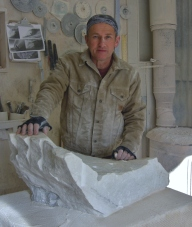Martin Cooney, Stone Carver, Mother of Pearl rough block, Yule marble, Birdhaven Studio Workshop, Woody Creek, Colorado
